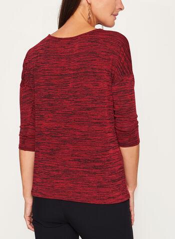 Haut tricot à manches 3/4 dolman et col ajouré, , hi-res