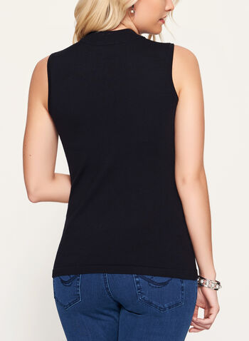 Mock Neck Jersey Knit Top, Black, hi-res