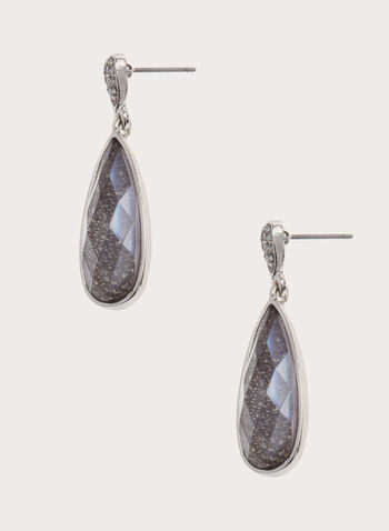 Dangle Teardrop Crystal Earrings, , hi-res