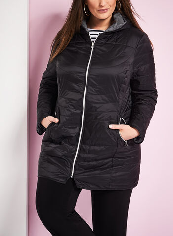 Quilted Polyfill Packable Coat, , hi-res