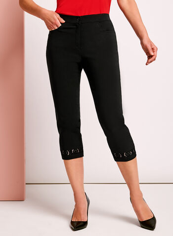 Signature Fit Crochet Trim Capris, Black, hi-res