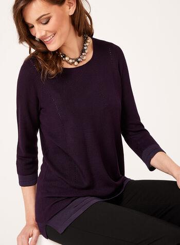 Pull tunique en maille tricotée, Rouge, hi-res