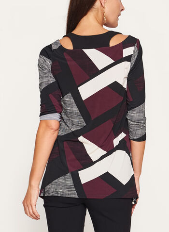 Geometric Print Cold Shoulder Tunic , , hi-res