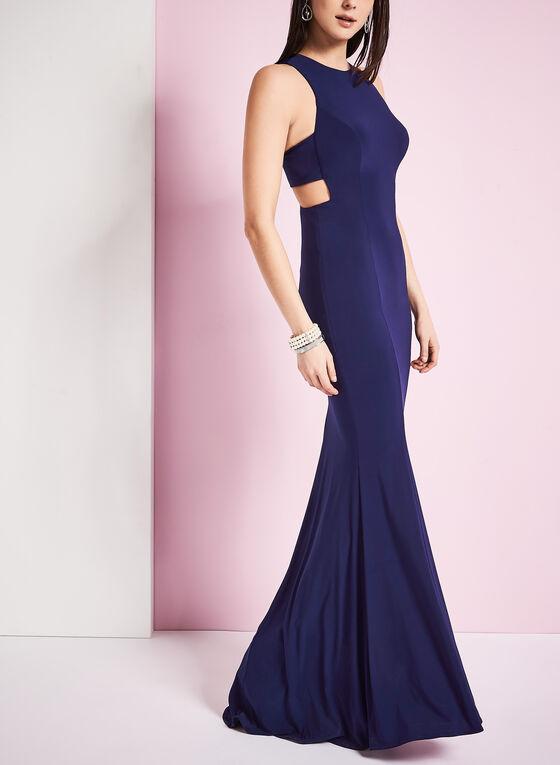 Sleeveless Jersey Evening Dress, Blue, hi-res