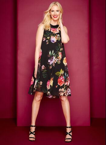 Floral Reverse Collar Trapeze Dress, , hi-res