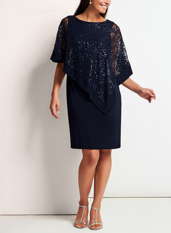 Sequined Lace Poncho Dress, , hi-res