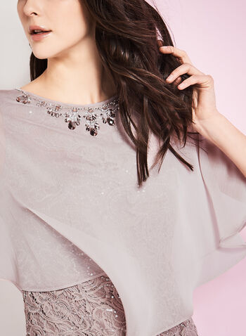 Sequin & Lace Poncho Gown, , hi-res