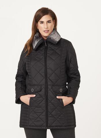 Weatherproof - Diamond Quilted Faux Fur Collar Coat, , hi-res