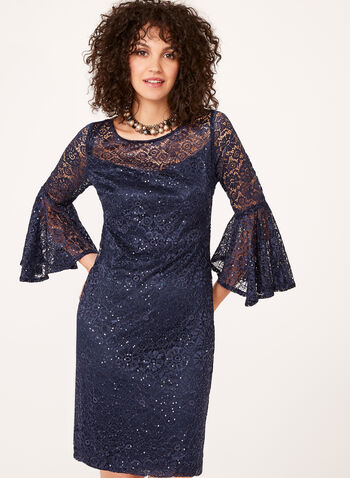Sequin Lace Bell Sleeve Dress, , hi-res