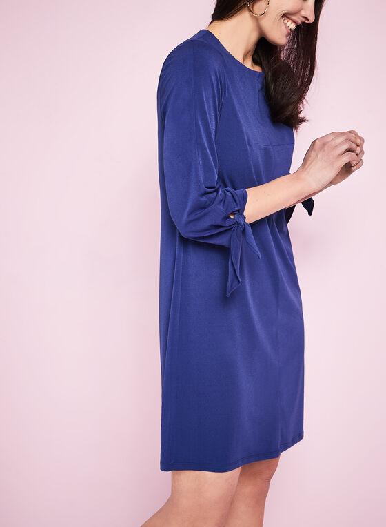 3/4 Sleeve Jersey Shift Dress, Blue, hi-res
