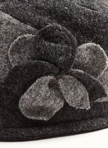 Flower Detail Wool Cloche Hat , , hi-res