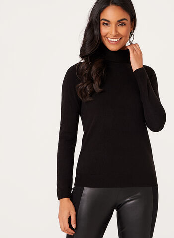 Long Sleeve Turtleneck Sweater, Black, hi-res