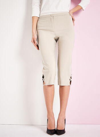 Signature Fit Bengaline Capri Pants, Grey, hi-res