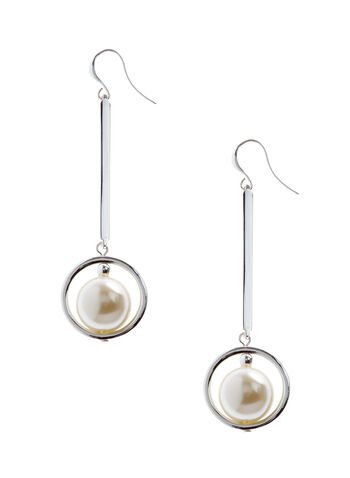 Pearl Center Dangle Earrings, , hi-res
