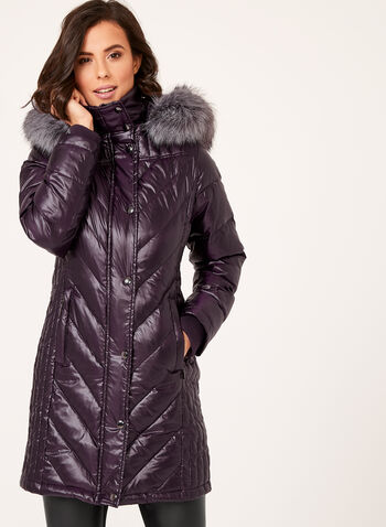 Manteau matelassé en duvet avec capuchon amovible , , hi-res