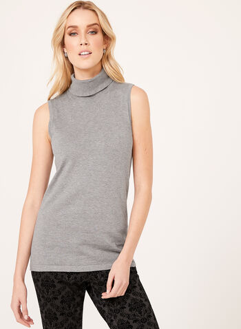 Sleeveless Turtleneck Sweater, Grey, hi-res