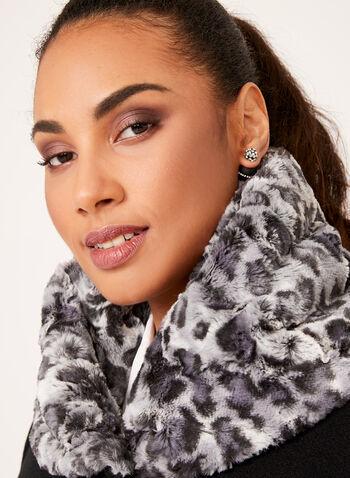 Novelti - Leopard Print Trimmed Wool Like Coat, , hi-res