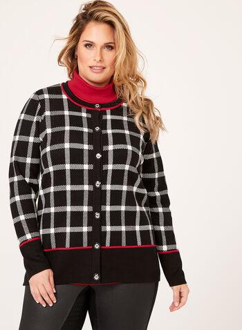 Plaid Double Knit Cardigan, , hi-res