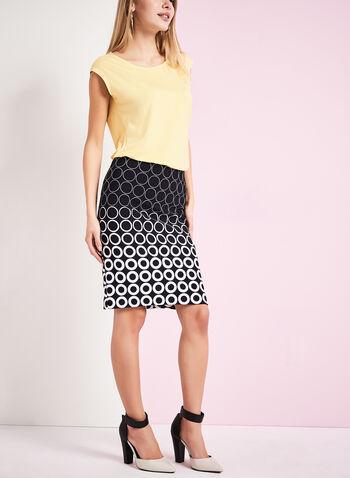 Dot Print Pencil Skirt , , hi-res