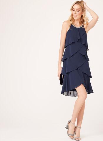 Beaded Neck Tiered Chiffon Dress, , hi-res
