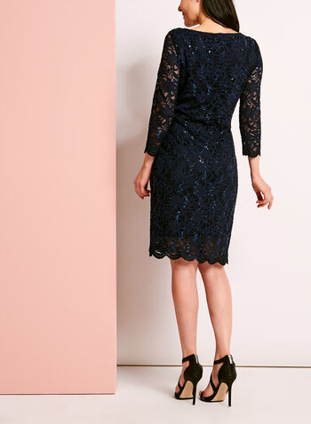 3/4 Sleeve Sequined Lace Dress, , hi-res