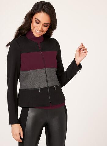 Colour Block Ponte Jacket , , hi-res