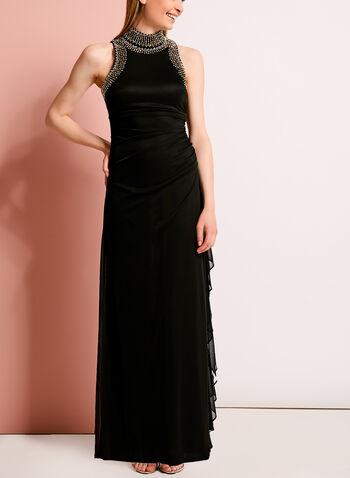 Embellished Mock Neck Gown, , hi-res