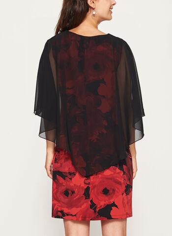 Chiffon Poncho Floral Print Dress, , hi-res