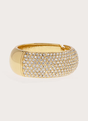 Crystal Encrusted Metallic Bangle, Gold, hi-res