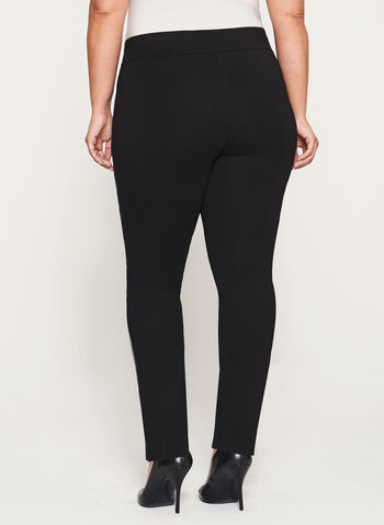 Ponte Pull-On Slim Leg Zipper Trim Pants, , hi-res