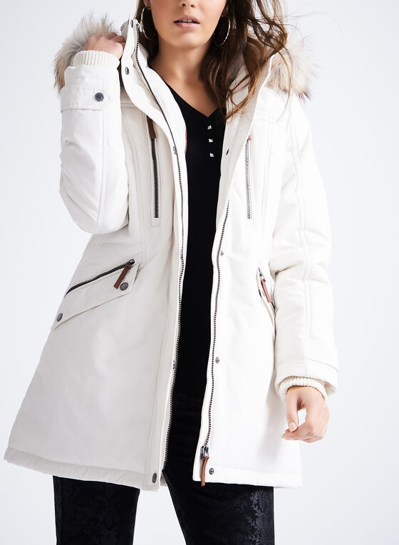 Novelti Polyfill Faux Fur Coat , Off White, hi-res