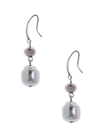 Metallic Bead Dangle Earrings , , hi-res