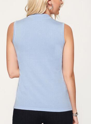 Mock Neck Jersey Knit Top, Blue, hi-res