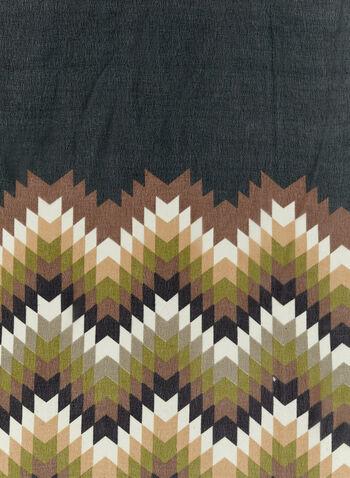 Zigzag Print Trim Scarf , , hi-res