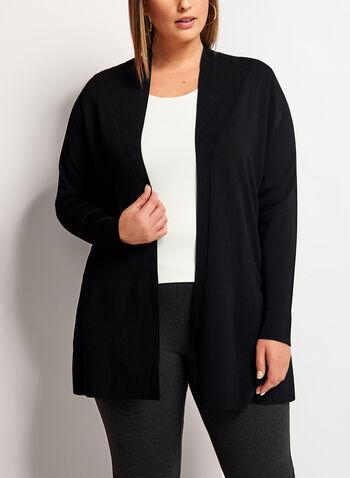 Open Front Oversize Knit Cardigan, Black, hi-res