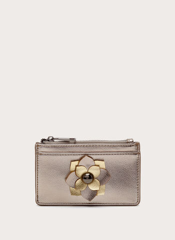 Metallic Flower Detail Zip Purse, , hi-res
