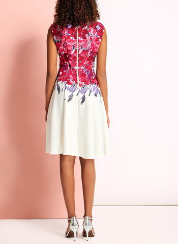 Floral Print Fit & Flare Scuba Dress, , hi-res