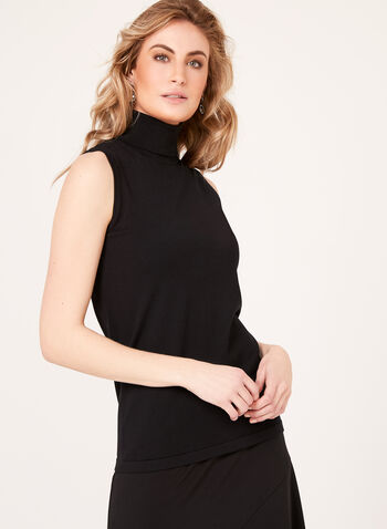 Sleeveless Turtleneck Sweater, Black, hi-res