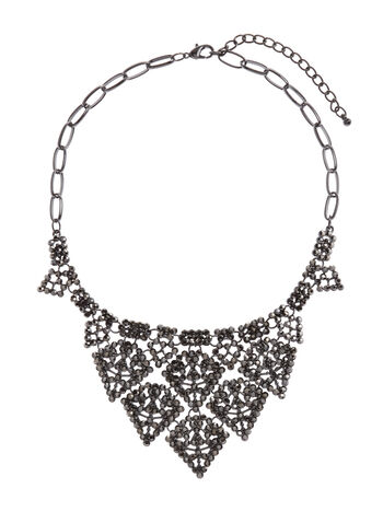 Layered Crystal Bib Necklace, , hi-res
