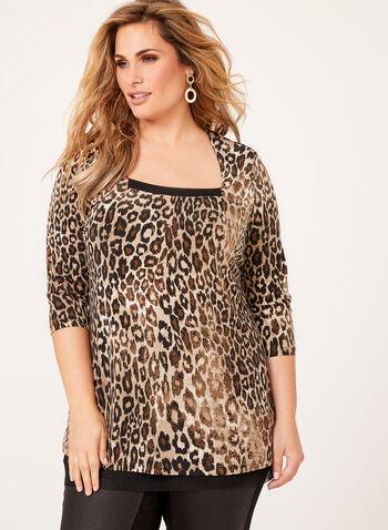 Leopard Print Jersey Top , , hi-res