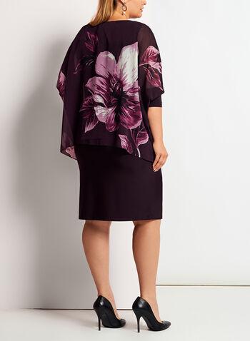 Robe poncho à manches 3/4 avec fleurs, , hi-res