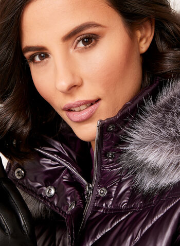 Faux Fur Hooded Quilted Down Coat , , hi-res