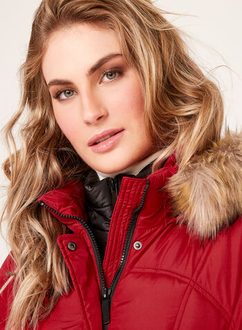 Quilted Faux Fur Hooded Coat , , hi-res