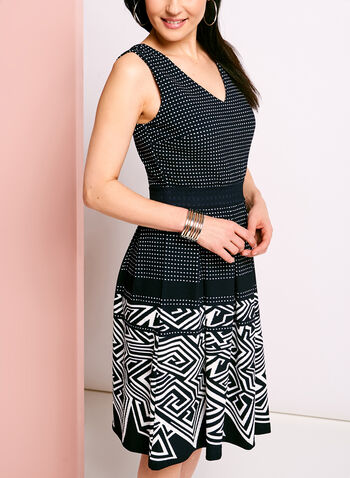 Geometric Dot Print Pleated Pique Dress, , hi-res