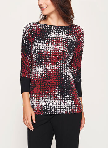 Abstract Print Dolman Sleeve Top, , hi-res