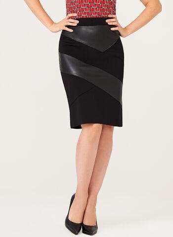 Leather Trim Pencil Skirt, , hi-res