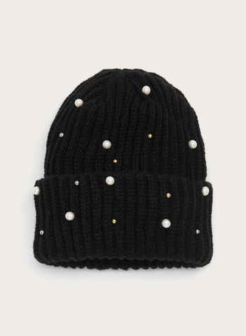 Faux Pearl Beaded Knit Hat, , hi-res