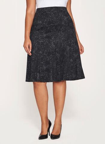 Flared Hem Midi Skirt, , hi-res