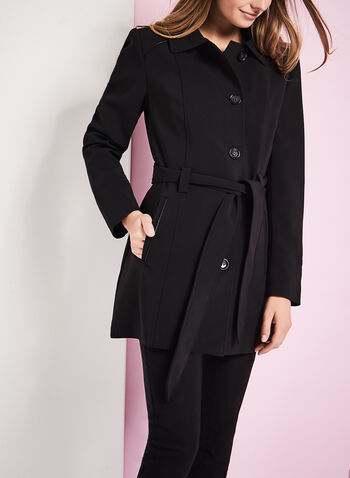 Faux Leather Trim Trench Coat, , hi-res