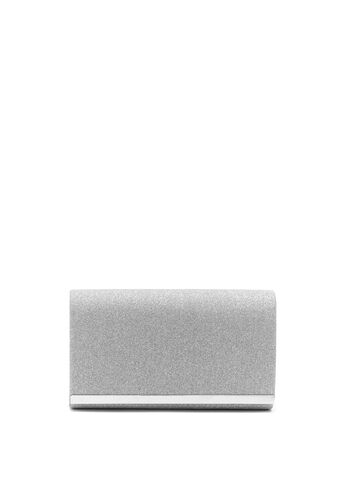 Metallic Trim Glitter Flapover Clutch, , hi-res